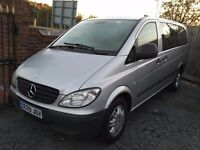 2009/09 Mercedes Vito 111cdi Traveliner 9 seater factory minibus,LWB, Silver, alloys, M1 Approved