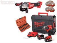 "Milwaukee M18 Fuel 1/2"" 610nm Impact Wrench Kit FUEL Angle Grinder Body Kit FMTIWF12-502x M18CAG115"