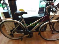 """Ladies low step bike raleigh alloy frame, full mudguards, 19"""" frame with suspension"""