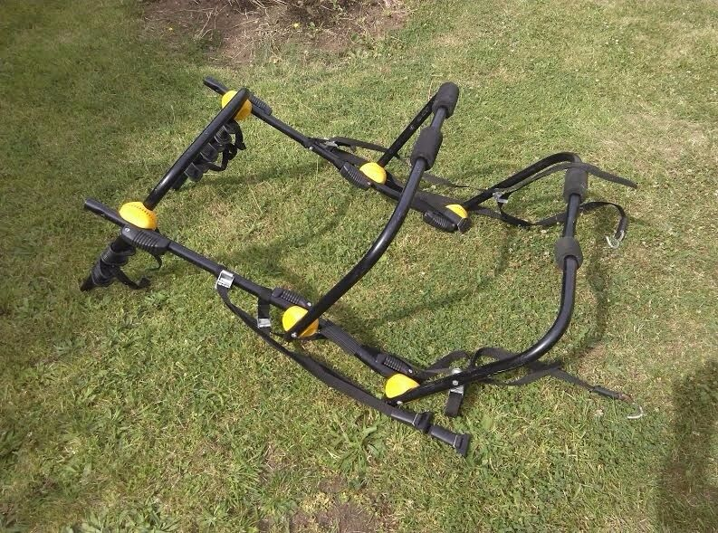 Black High mount rear car bike carrier all parts present, holds onto rear of most cars