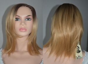 NEW WITH TAGS: Deluxe Blonde-Black Ombre Wig Side-Part