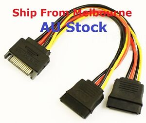 SATA Power T/Y Splitter Extension Cable Adapter 1 x male to 2 x Female AU Stock