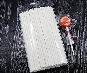 100 x Cake Pop Sticks -  Long 15cm White Paper Lolly Lollipop Candy Cookie Stick