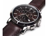 Burberry BU1383 38mm Sapphire Chronograph Men's Swiss Watch Brown Leather Strap