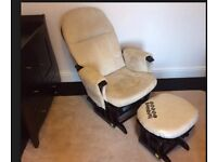 Tutti Bambini GC35 Nursing Glider Chair in Espresso finish with Foot Stool