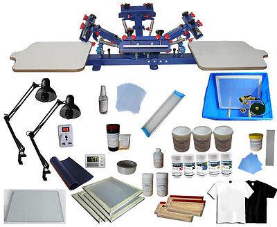 4 Color 2 Station Silk Screen Printing Press Full Diy Printing Materials Kit