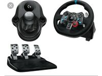 **AS NEW BOXED ** Ps3/ps4/pc logitec g29 steering wheel pedals and gear lever