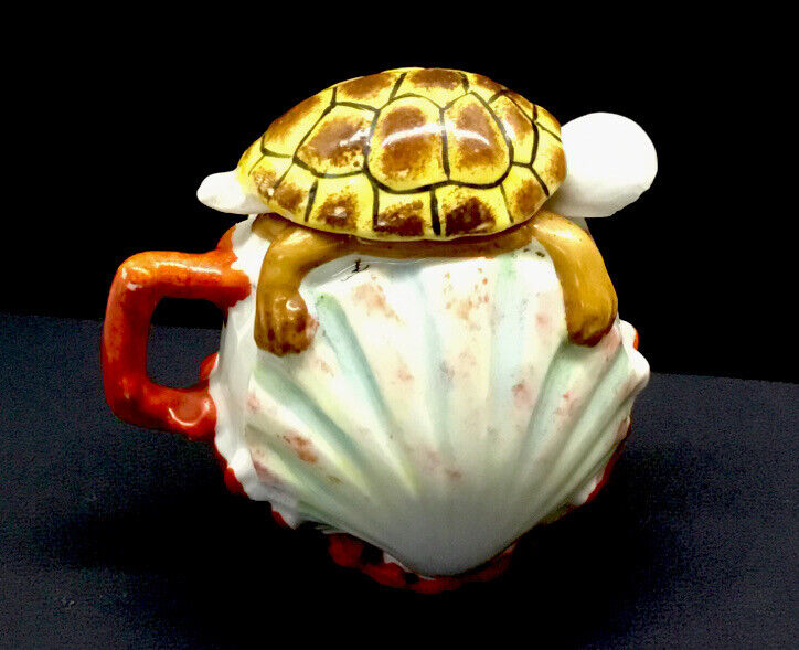 ANTIQUE ROYAL BAYREUTH SEASHELL And TURTLE COVERED CONDIMENT SERVER - Signed