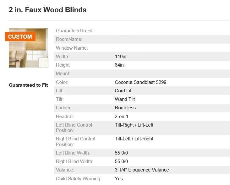 Bali Blinds 2in Faux Wood Corded 110x64in Coconut Sandblast