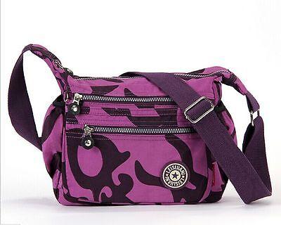 Purple Women girl Nylon Casual Travel Crossbody Bag Sports Daypack Shoulder Bag