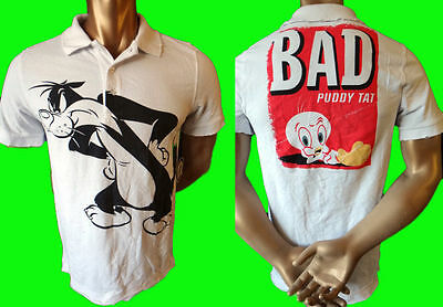 LOONEY tune Vintage tweety bird polo rugby golf shirt m warner bro cat sylvester (Animal Print Rugby)