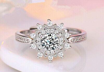 Snowflake Adjustable Ring 925 Sterling Silver Womens Girl Jewellery Xmas Gift UK