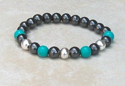Turquoise Silver Mens Bracelets - Mens bracelet black hematite, blue turquoise beads with silver plated beads