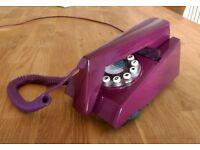 Retro purple 60s 70s style phone landline