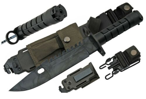 """13"""" M9 BAYONET SURVIVAL Camo Knife + Scabbard Saw Back Wire Cutter AR 14 15 16"""