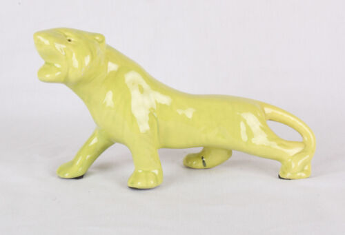 "RARE Vintage Ceramic Green Panther, Great Condition, 10"" long"