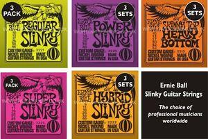 3-PACK-Ernie-Ball-Slinky-Guitar-strings-Choice-of-5-Gauges-Super-Regular-Power