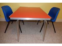 Children's Stacking Blue School Chairs and Folding Contour Table- Gopak