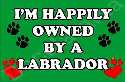 I'M HAPPILY OWNED BY A LABRADOR JUMBO FRIDGE MAGNET GIFT/PRESENT DOG  ()