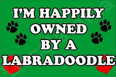 I'M HAPPILY OWNED BY A LABRADOODLE JUMBO FRIDGE MAGNET GIFT/PRESENT DOG  ()