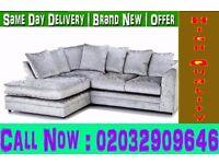 Crushed Velvet Corner Sofa or 3 and 2 Set Black / Brown Mountain Top