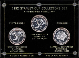 1992 STANLEY CUP CHAMPIONS PENGUINS VS CHICAGO BLACK HAWKS COIN
