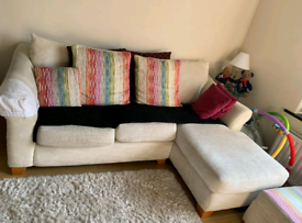 L shaped Sofa with 1 Armchair and footstool