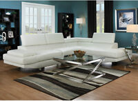BRAND NEW GORGEOUS WHITE FAUX LEATHER SECTIONAL