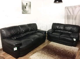 ;:; Black Real leather 3+2 seater sofas