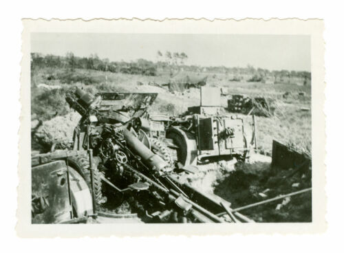 British 25 pounder artillery and limbers,  probably France, 1940. Original Photo