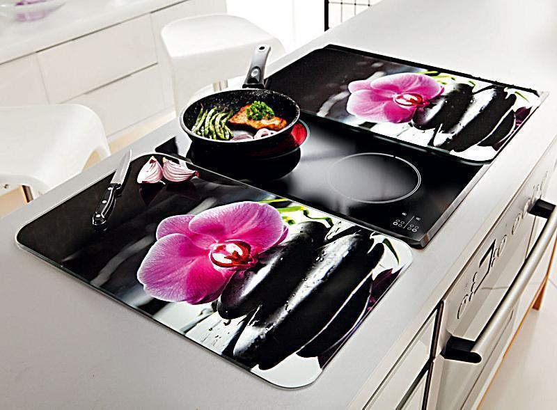 herdabdeckplatten herd ceranfeld abdeckplatten lila orchidee 2er blumen neu eur 199 99. Black Bedroom Furniture Sets. Home Design Ideas