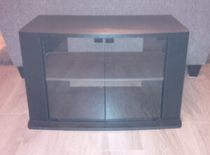 TV stand with glass doors...