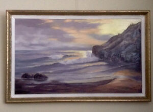 LARGE ORIGINAL VINTAGE OIL PAINTING BY NELSON ARTIST