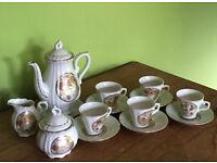 Vintage 80s Bistro Bird Tea Coffee Espresso Pot Demitasse Saucer 5 Cup Sets Japan