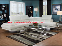 ** BONDED LEATHER MODERN WHITE STYLE SECTIONAL...$899 ***