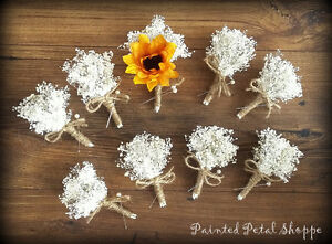 Baby's Breath Boutonniere/Sunflower Boutonniere/Rustic Wedding