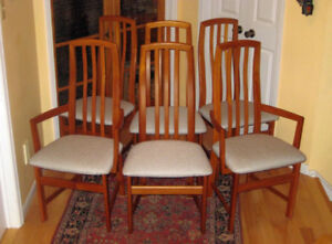 6 Pristine Vintage MCM Solid Teak Chairs New Upholstery, Table