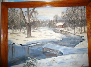 "Original Oil Painting ""Skating on the stream"""