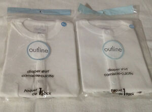 NEW: Outline Baby Diaper Shirts (size 6 and 12 months)