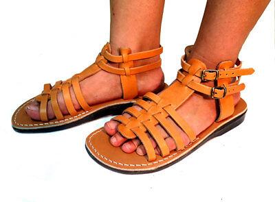 """Roman"" Jerusalem Sandals caramel Brown Black Leather Strap Women"