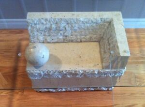 Contemporary Coffee &  End Tables, Glass & Carved Limestone Base Cambridge Kitchener Area image 7