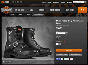 Harley Davison Men's Faded Glory Performance Boots Cap steel