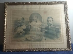"1897 Framed British Royalty Print ""Future Kings of England """