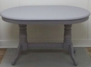 DOUBLE PEDESTAL Dining Table DOVE GREY Vintage Antique FREE DEL