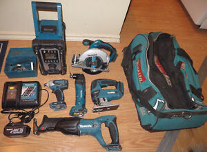 MAKITA LXT 18V 6pc Tool Set, battery, charger, bag & accessories