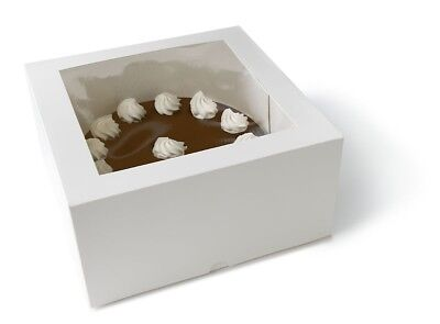12 New White Square Bakery Cupcake Muffin Sweet Cake Box With Window 8X8x4 In
