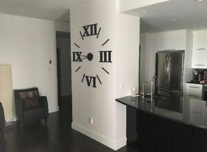 48'' chiffres romain, horloge géante en bois chiffre romain 3D