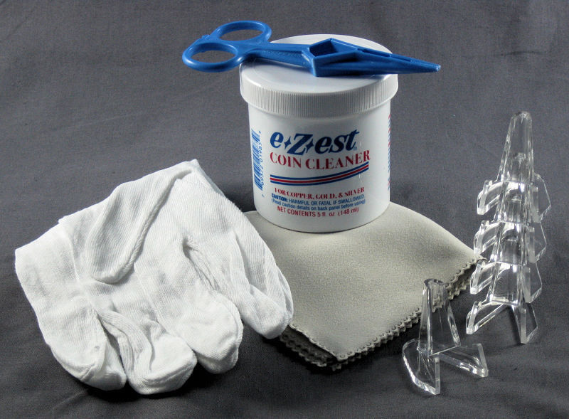Coin Cleaning Kit with e-Zest, Gloves, Kointongs, Microfiber Cloth & 5 Easels