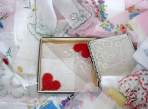 VINTAGE HANKIES HANKERCHIEFS WEDDING EMBROIDERY PLUS  LOT OF 60