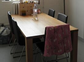 Solid Oak Dining Table & 6 Faux Leather/Chrome Chairs